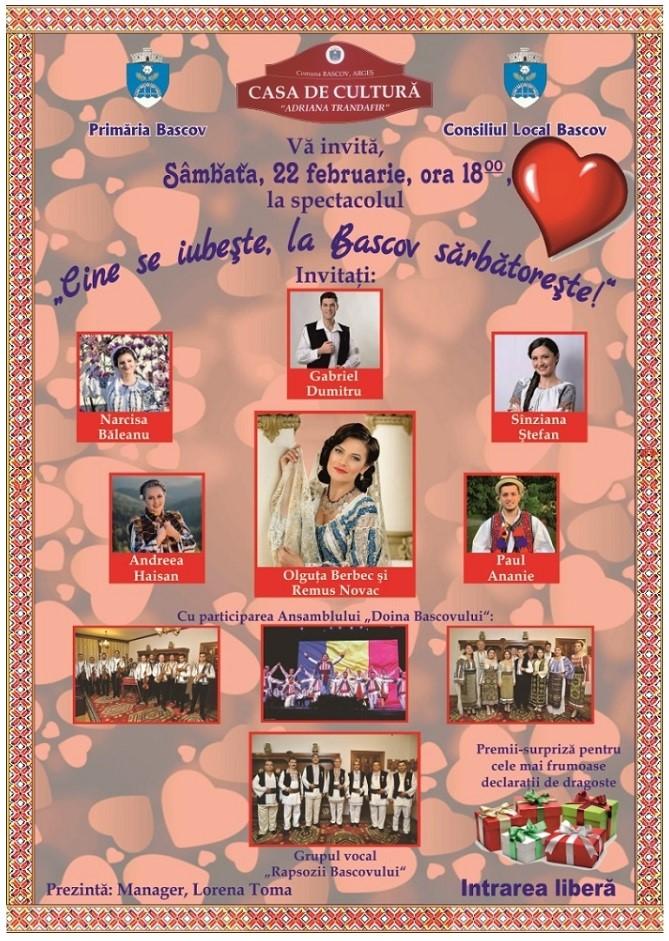 Cine se iubește, la Bascov sărbătorește ! Un spectacol dedicat zilei de Dragobete